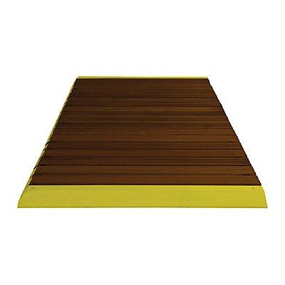 Holzlaufrost dunkel gebeizt, pro lfd. m, mit Anschrägung, inkl. gelber Auffahrkanten