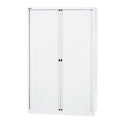 BISLEY Euro-Rollladenschrank, Breite 1200 mm, 4 Fachböden verkehrsweiß