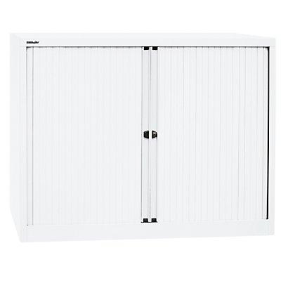 BISLEY Euro-Rollladenschrank, Breite 1200 mm, 2 Fachböden verkehrsweiß