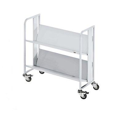 QUIPO Getränkewagen - 2 Etagen, Tragfähigkeit je Etage 40 kg - weißaluminium