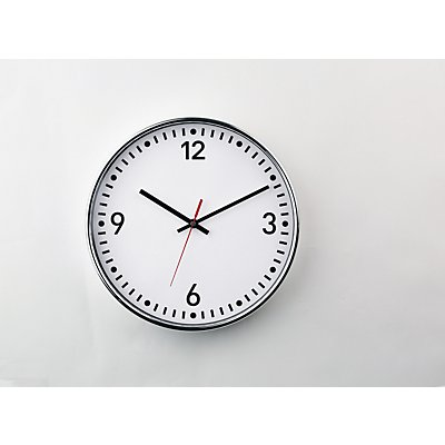 Funkwanduhr, Ø 300 mm, mit Zahlen und Strichen Zifferblatt weiß