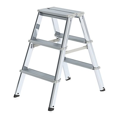Alu-Stufenstehleiter, beidseitig begehbar, mit ergonomisch geformtem Holm 2 x 3 Stufen, Arbeitshöhe 2250 mm