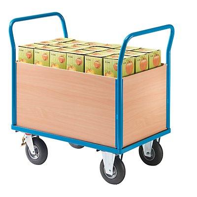 EUROKRAFT ACTIVE GREEN Plattformwagen mit Holzwänden - mit 4 hohen Wänden