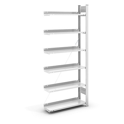 hofe Akten-Steckregal, RAL 7035 - Regalhöhe 2000 mm, einseitig