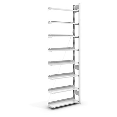 hofe Akten-Steckregal, RAL 7035 - Regalhöhe 2700 mm, einseitig