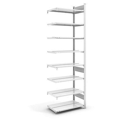 hofe Akten-Steckregal, RAL 7035 - Regalhöhe 2700 mm, doppelseitig