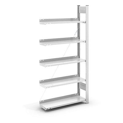 hofe Akten-Steckregal, RAL 7035 - Regalhöhe 1750 mm, einseitig