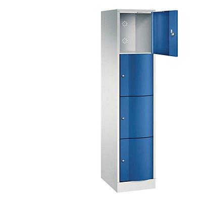 CP Schließfachschrank - HxBxT 1950 x 396 x 540 mm, 4 Fächer - lichtgrau RAL 7035 / enzianblau RAL 5010