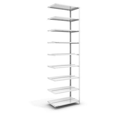 Akten-Schraubregal, lichtgrau RAL 7035 - Regalhöhe 2900 mm, doppelseitig