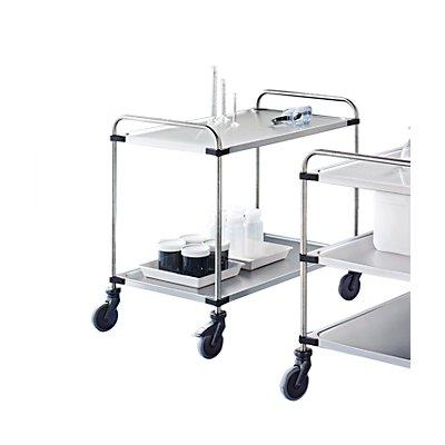 Chariot à plateaux en inox VARITHEK SERVO+ - 2 niveaux, L x l 1000 x 600 mm - 2 plateaux, force 120 kg
