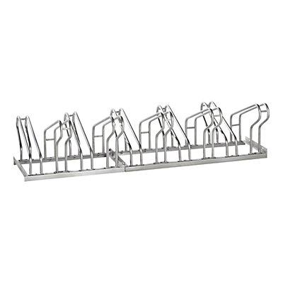 EUROKRAFT Fahrradständer, Bügel aus 18 mm Stahlrohr - Radeinstellung zweiseitig, Edelstahl
