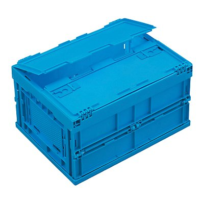 Bac pliant en polypropylène - capacité 22 l, avec couvercle fixé par charnières - coloris bleu