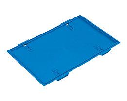 Deckel, blau, zu Faltbox, mit Arretierung für LxB 600 x 400 mm