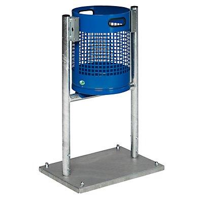 VAR Außen-Abfallsammler - Inhalt 30 l, mit Rohrgestell, enzianblau