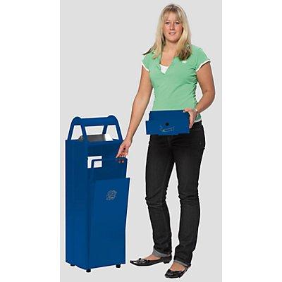 Collecteur de déchets avec cendrier et toit de protection - capacité poubelle 35 l, capacité cendrier 5 l - gris noir RAL 7021