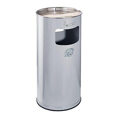 Combiné cendrier-poubelle avec cendrier à remplir de sable - hauteur 700 mm, Ø 320 mm