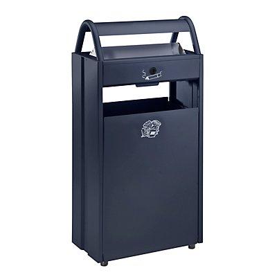 Collecteur de déchets avec cendrier et toit de protection - capacité poubelle 60 l, capacité cendrier 9 l