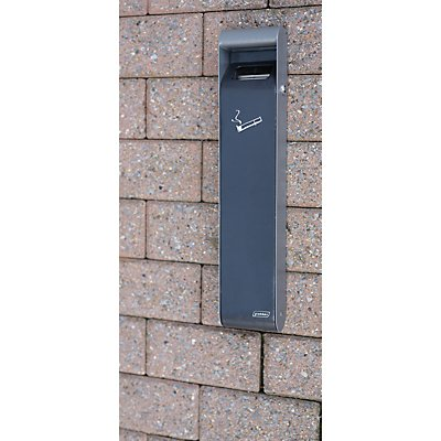 Design-Wandascher für innen und außen, Volumen 3 l, HxBxT 500 x 100 x 64 mm grau