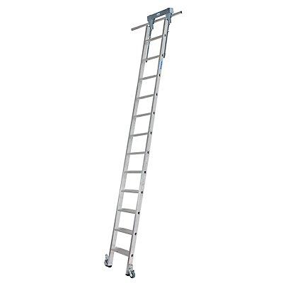 Stufen-Regalleiter, mit Kopffahrwerk für Rundrohr-Schienenanlage