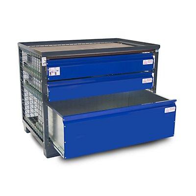 Gitterbox, mit 3 abschließbaren Schubladen
