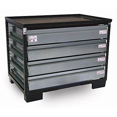 Gitterbox, mit 4 abschließbaren Schubladen