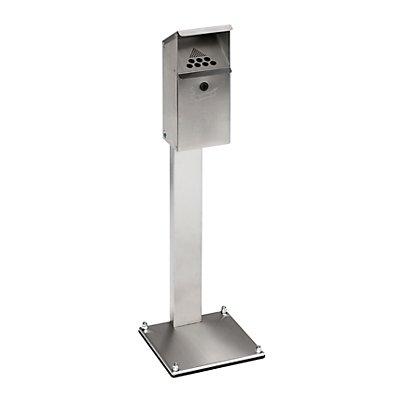 VAR Standaschenbecher für Außen und Innen - aus Edelstahl, abschließbar - HxBxT 1090 x 320 x 320 mm