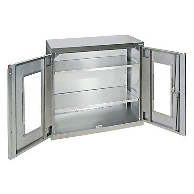 Edelstahl-Flügeltürschrank, mit Stellschrauben, Sichtfenstertüren