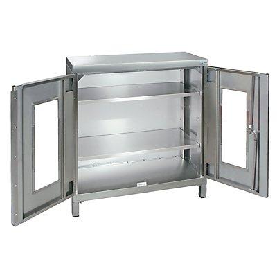 Edelstahl-Flügeltürschrank, mit Sichtfenstertüren und Vierkant-Sockelfüßen