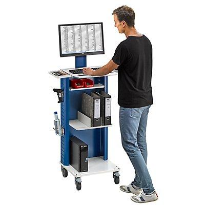 ANKE Laptop- / Gerätewagen, mit zusätzlicher Ablage, 2 Buchstützen grau / blau