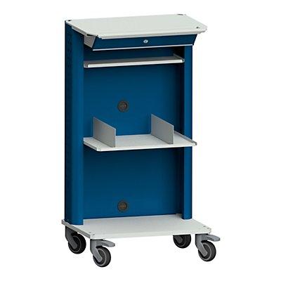 ANKE Laptop- / Gerätewagen, mit Laptopfach, zusätzliche Ablage grau / blau