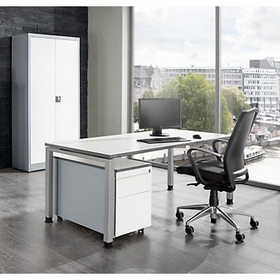 Komplettbüro ARCOS - Schreibtisch, Flügeltürschrank, Rollcontainer mit Hängeregistratur - weißalu / reinweiß