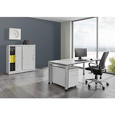 mauser Komplettbüro ARCOS - Schreibtisch, Schiebetürenschrank, Rollcontainer mit Hängeregistraturschub - weißalu / reinweiß