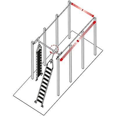 Stufen-Regalleiter, Doppelregal mit Kopffahrwerk für Rundrohr-Schienenanlage