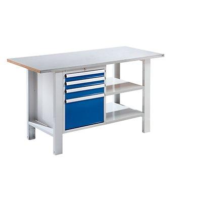 QUIPO Werkbank, Plattenbreite 1500 mm, 4 Schubladen Stahlblechbelagplatte