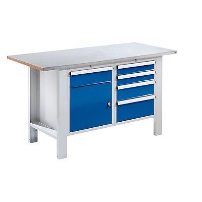 Werkbank, Plattenbreite 1500 mm, Stahlblechbelagplatte, 5 Schubladen, 1 Tür