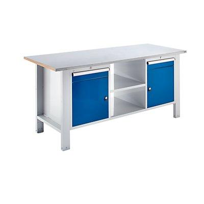 QUIPO Werkbank, Plattenbreite 1850 mm, 2 Schubladen, 2 Türen