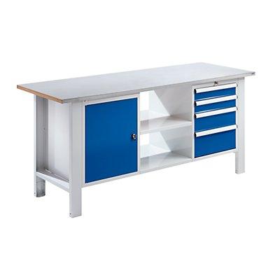 QUIPO Werkbank, Plattenbreite 1850 mm, 4 Schubladen, 1 Tür Stahlblechbelagplatte