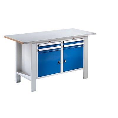 QUIPO Werkbank, Plattenbreite 1500 mm, 4 Schubladen, 2 Türen Stahlblechbelagplatte