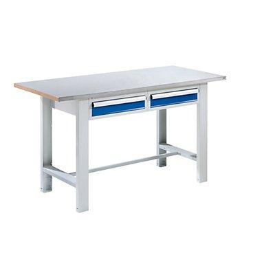 QUIPO Werkbank, Plattenbreite 1500 mm, 2 Schubladen Stahlblechbelagplatte