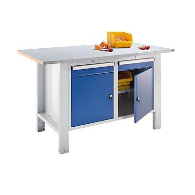 QUIPO Werkbank, Plattenbreite 1500 mm, 2 Schubladen, 2 Türen