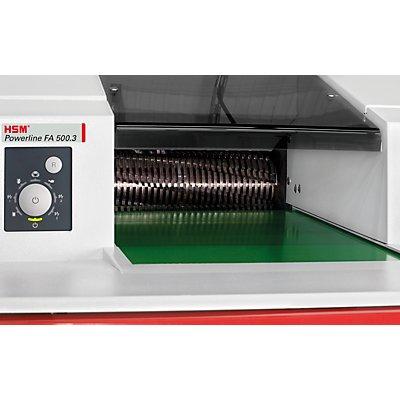 Förderband-Aktenvernichter, POWERLINE FA 500 3, Auffangvolumen 530 l, Partikelgröße 6 x 40 - 53 mm, mit Ablagetisch
