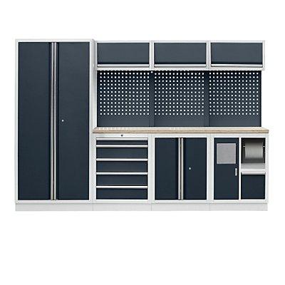 Werkstattschranksystem mit Flügeltür-Hochschrank, Abfall- und Reinigungs-Center, BxT 2955 x 460 mm, lichtgrau / anthrazitgrau