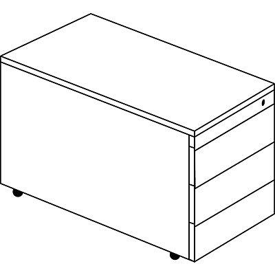 mauser Schubladencontainer mit Rollen - HxT 529 x 800 mm, Kunststoffplatte, 3 Schubladen