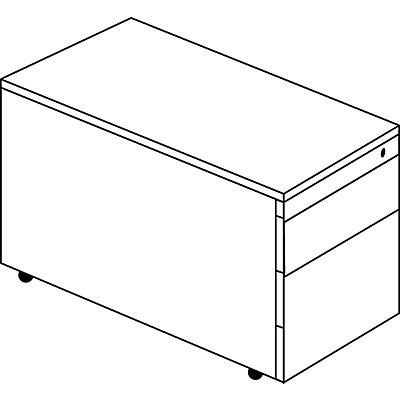 mauser Schubladencontainer mit Rollen - HxT 523 x 800 mm, HPL-Vollkernplatte, 2 Schubladen