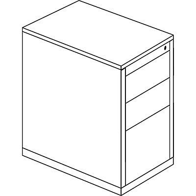 mauser Schubladencontainer - Höhe 708 mm, HPL-Vollkernplatte, 3 Schubladen