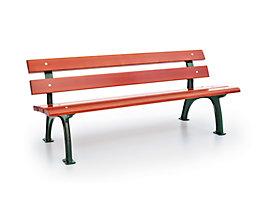 Parkbank mit Gussgestell - Sitz- und Rückenfläche Fichtenholz - gerade