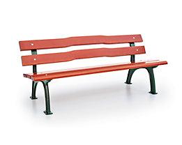 Parkbank mit Gussgestell - Sitz- und Rückenfläche Fichtenholz - geschwungen