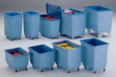 Großbehälter aus GfK, fahrbar, blau/weiß - Inhalt 270 l, Traglast 500 kg