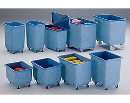 Großbehälter aus GfK, fahrbar, blau/weiß - Inhalt 43 l
