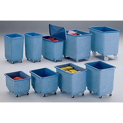 Großbehälter aus GfK, fahrbar, blau/weiß - Inhalt 110 l - mit Scharnierdeckel
